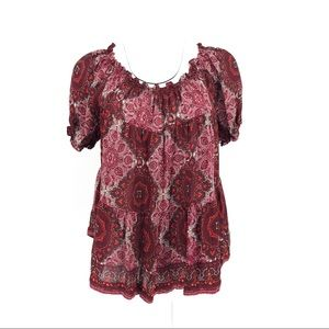 Joie Boho Silk Paisley Print Top Red S
